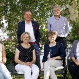 Vorstand Hospizgruppe Sarganserland: Gabriela Raschle, Elisabeth Warzinek, Sabine Koch-Hobi, Marie-Therese Aggeler (sitzend, von links). Martin Schuppli und Walter Kroiss (stehend von links).